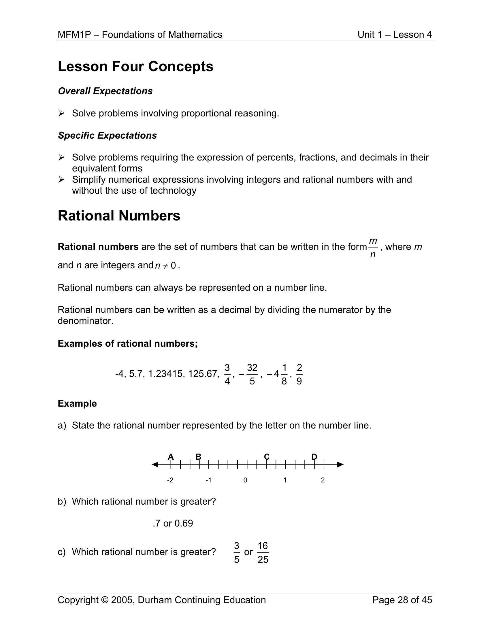 7th Grade Rational Numbers Worksheets