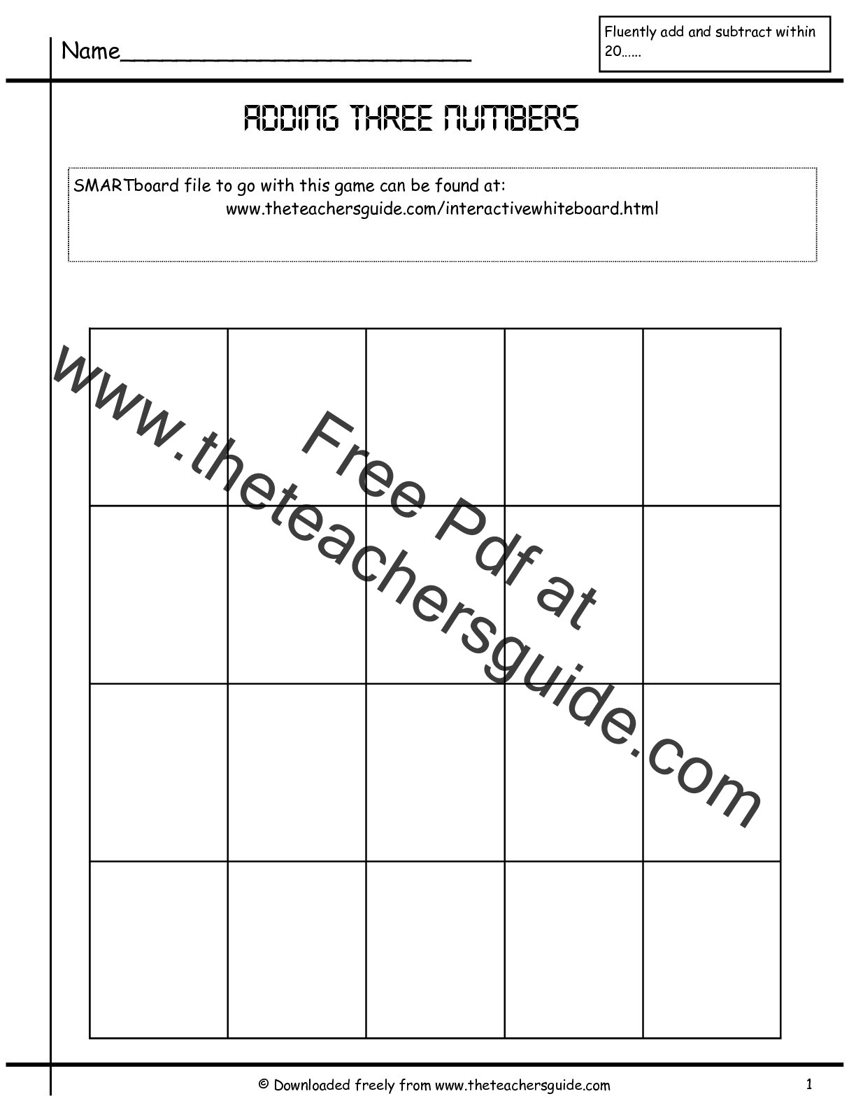 Adding Three Numbers Worksheets