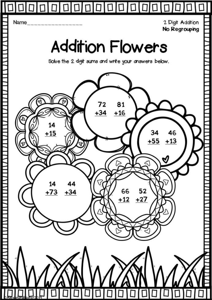 Addition with Regrouping Coloring Worksheets