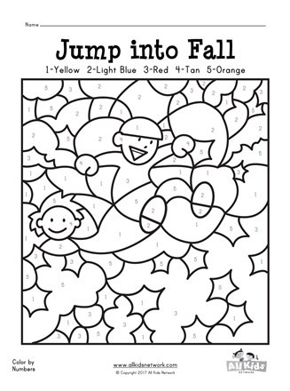 Fall Color by Numbers Worksheet