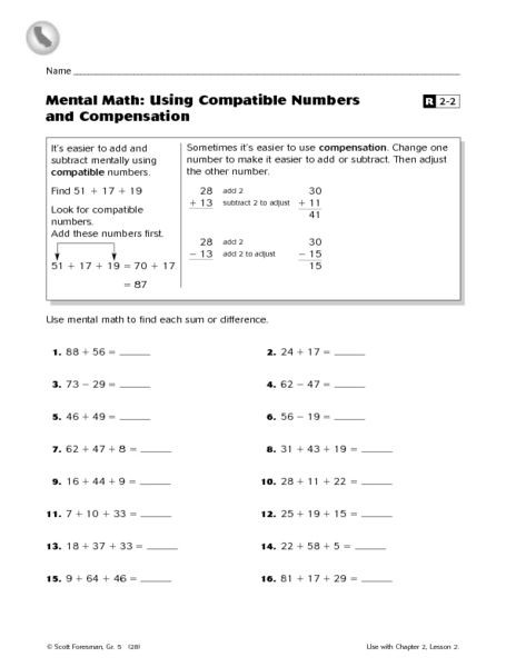 Mental Math Using patible Numbers and pensation 3rd