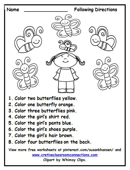 Free Following Directions worksheet with color words
