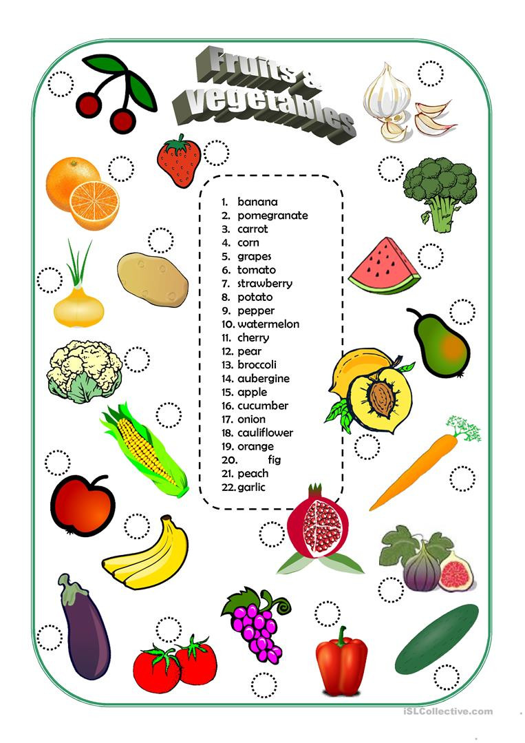 Fruits and ve ables English ESL Worksheets for distance