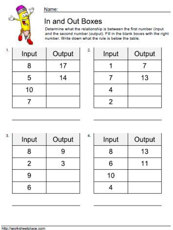 Input and Output Tables Worksheets
