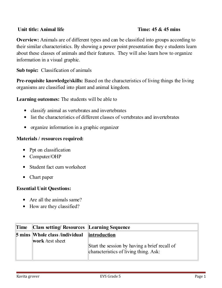 Introduction to Animals Worksheet