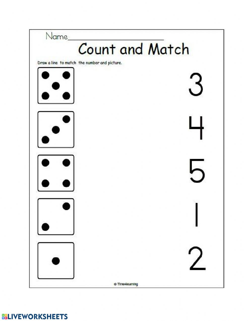 Matching numbers and quantities worksheet