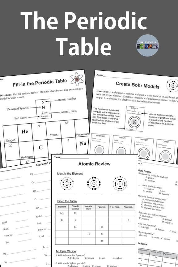 Middle School Periodic Table Worksheets