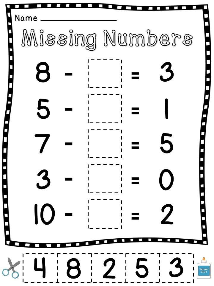 Missing Numbers Subtraction Worksheets