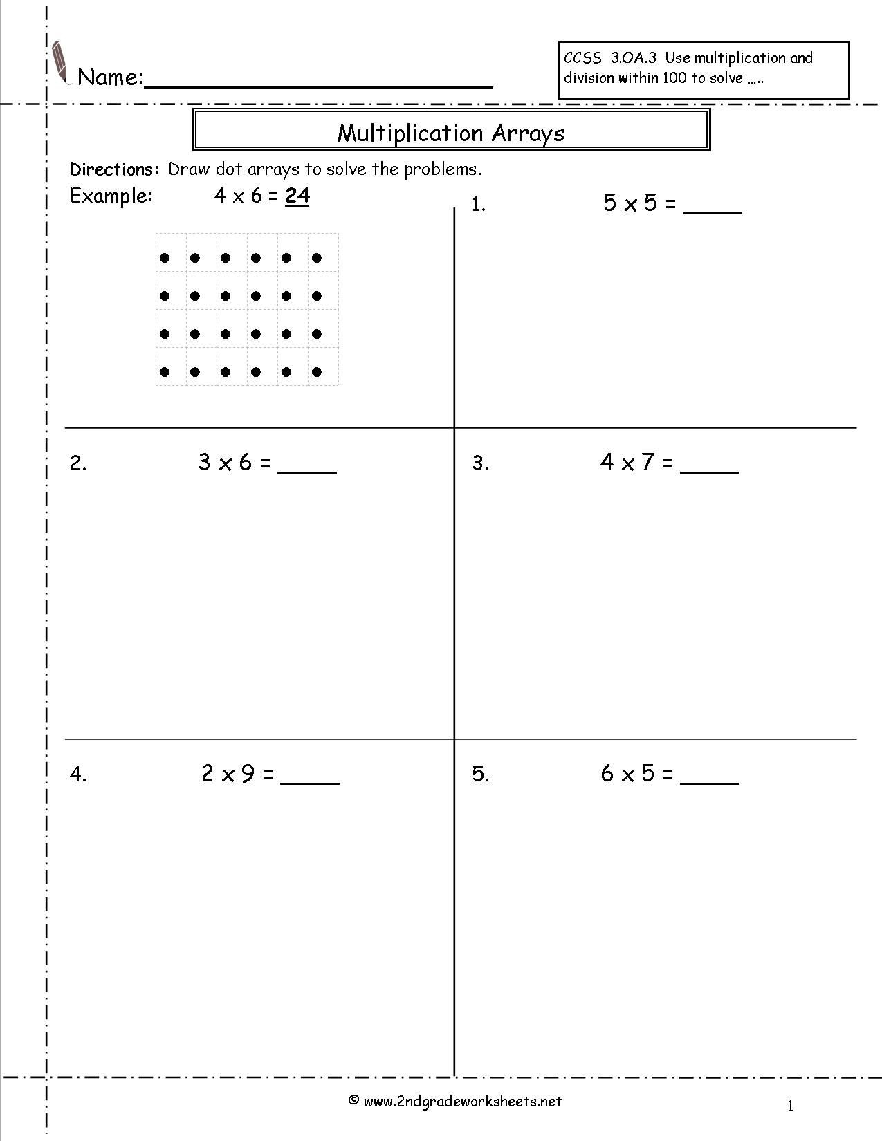Multiplication by Grouping Worksheets