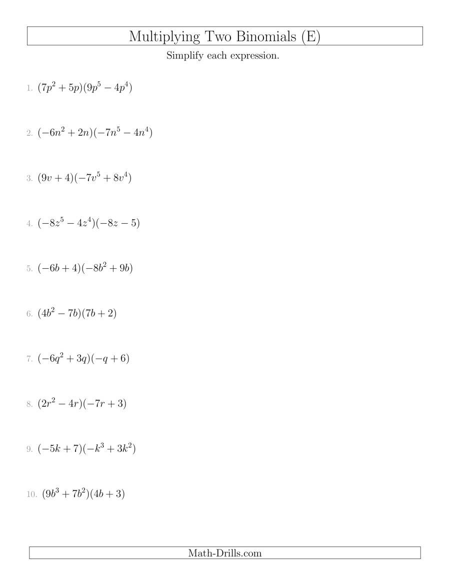 Multiplying Polynomials Word Problems Worksheet