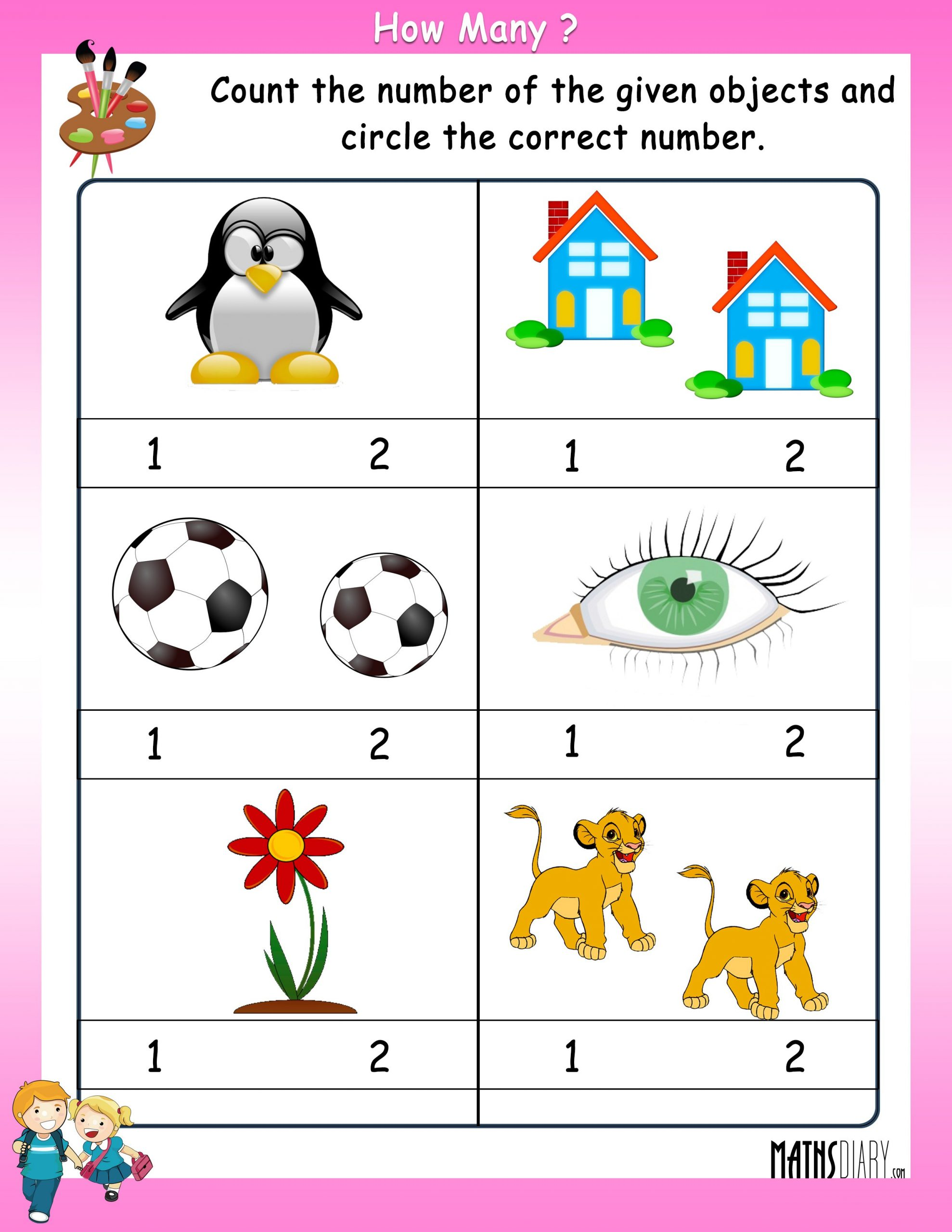 Number 1 and 2 Worksheets