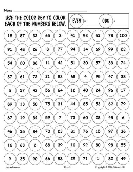 Printable 100th Day of School Odd and Even Numbers Worksheet