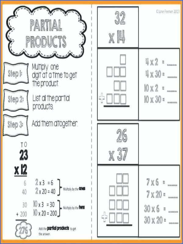 partial products worksheets free product multiplication