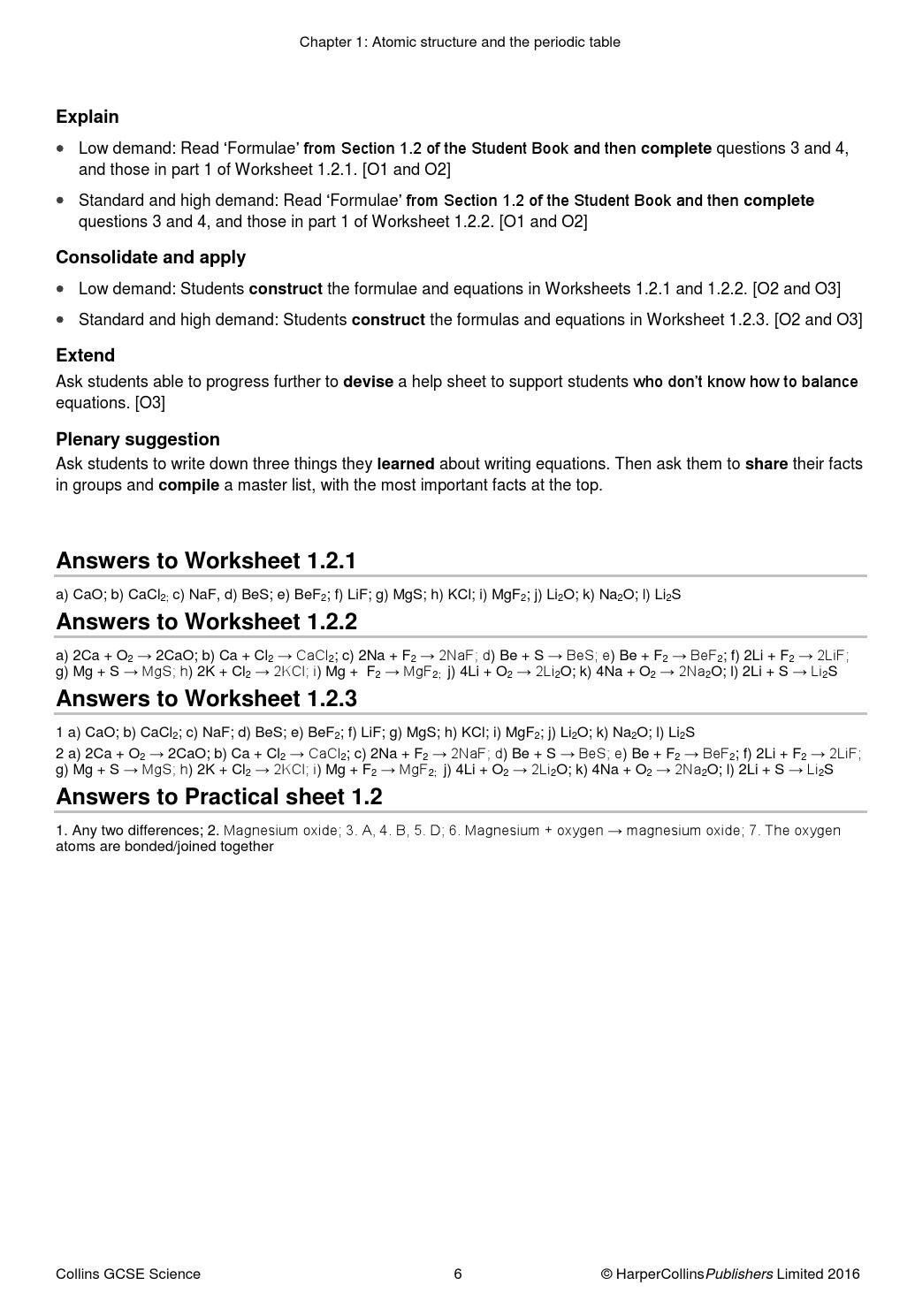 Periodic Table Worksheet 3 Answers