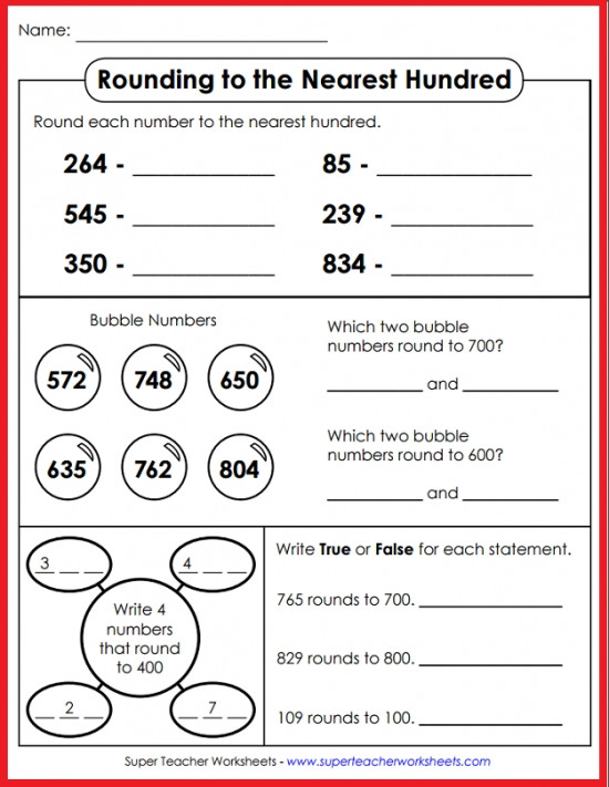 Rounding Numbers 4th Grade Worksheets