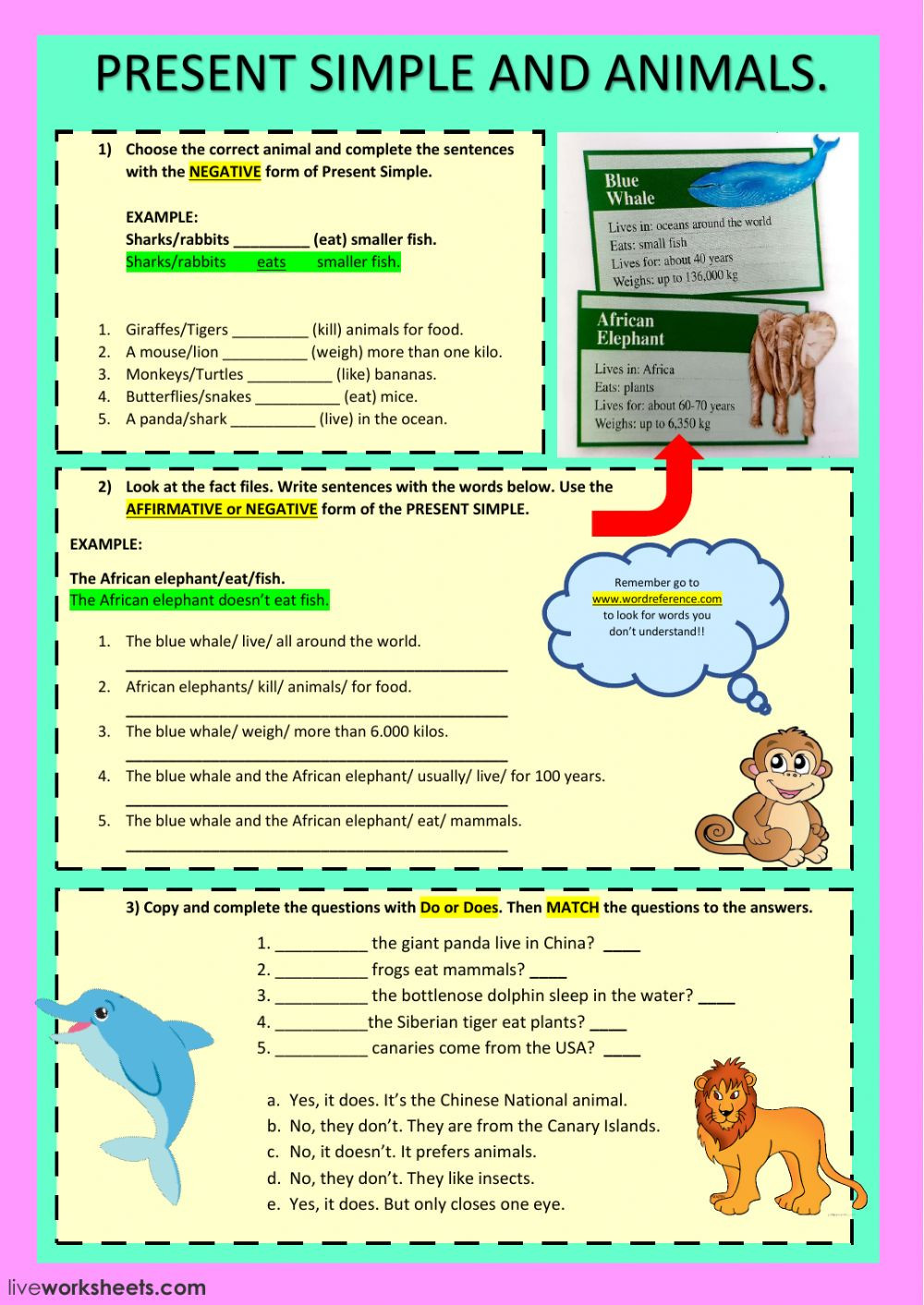 Present simple and animals worksheet