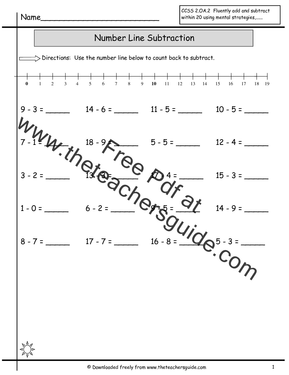 Subtraction with Number Line Worksheets