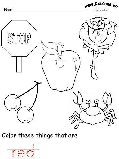 The Color Red Worksheets