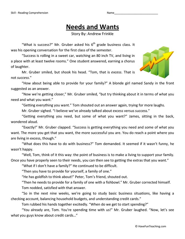 Needs and Wants Reading prehension Worksheet