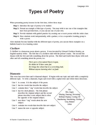 Poetry Lessons & Activities Gallery of Worksheets Grades 6