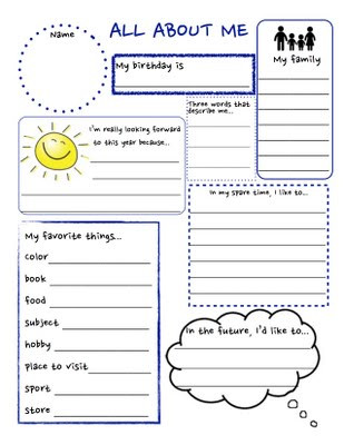 All About You Worksheet
