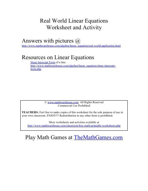 Real World applications of Linear Equations Math Warehouse