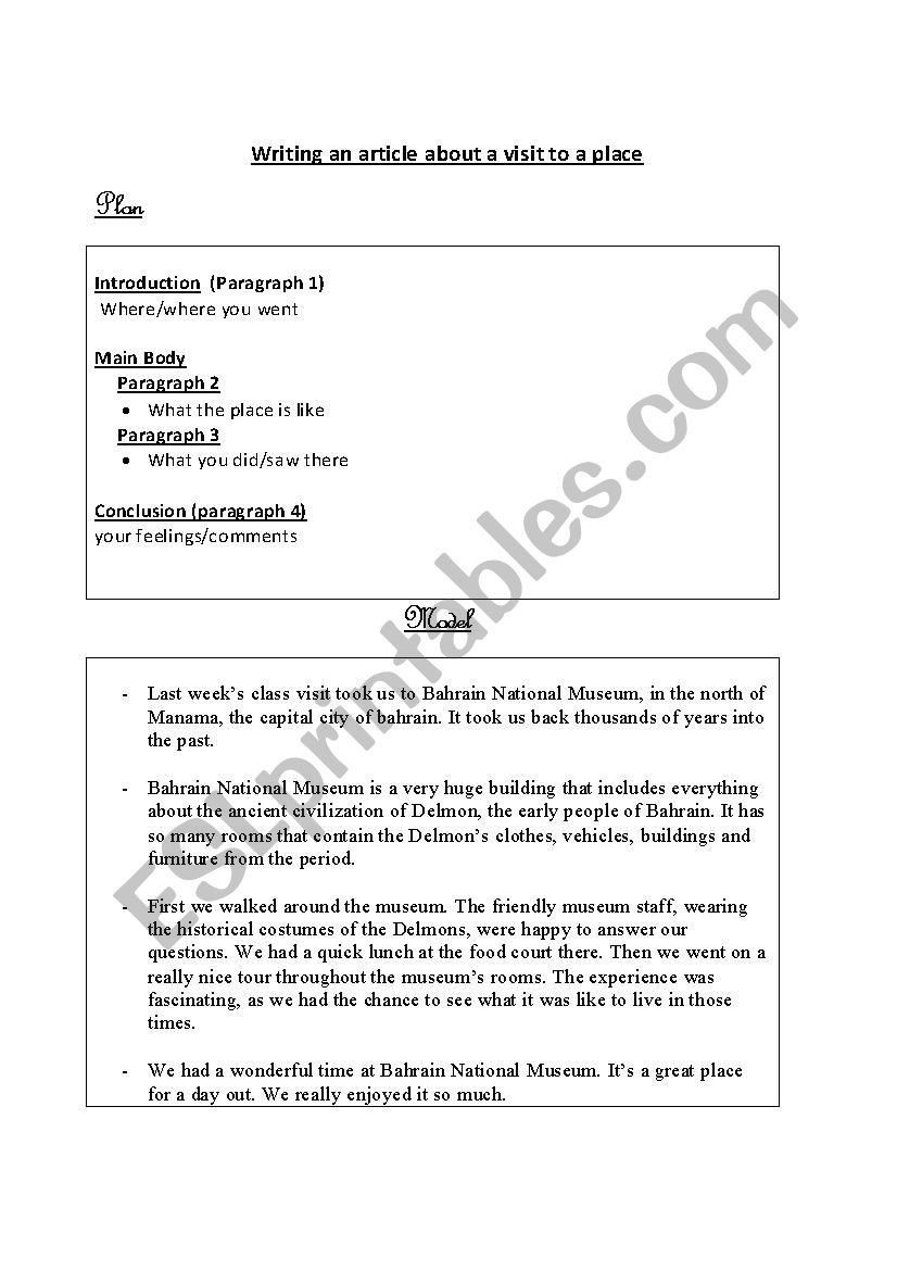Article the Week Worksheet Writing An Article About A