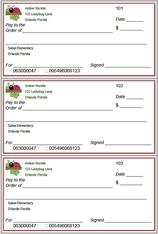 Checkbook Worksheets for Students