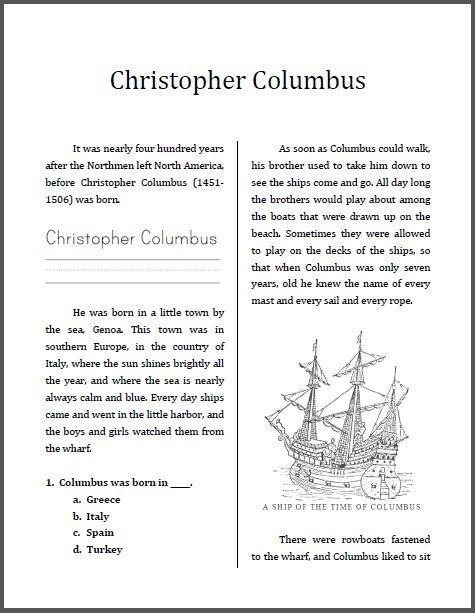 Columbus Day Reading Comprehension Worksheets