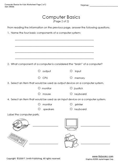 Computer Worksheets for Middle School