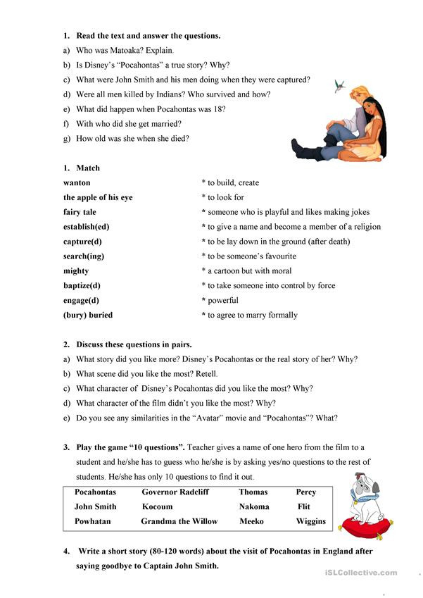 The Real Story of Pocahontas English ESL Worksheets for