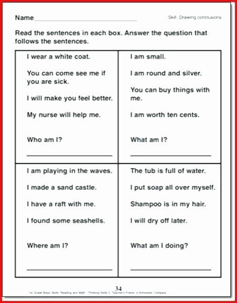 Drawing Conclusions Worksheets 6th Grade