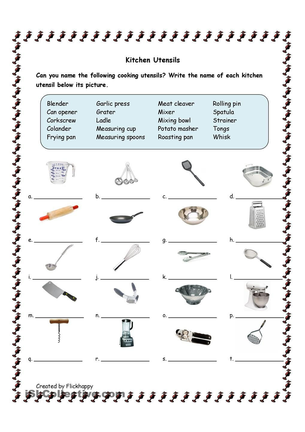 Kitchen Utensils With Life Skills Classroom Cooking