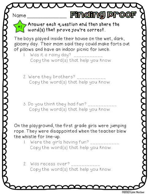 Finding Evidence In Text Worksheet