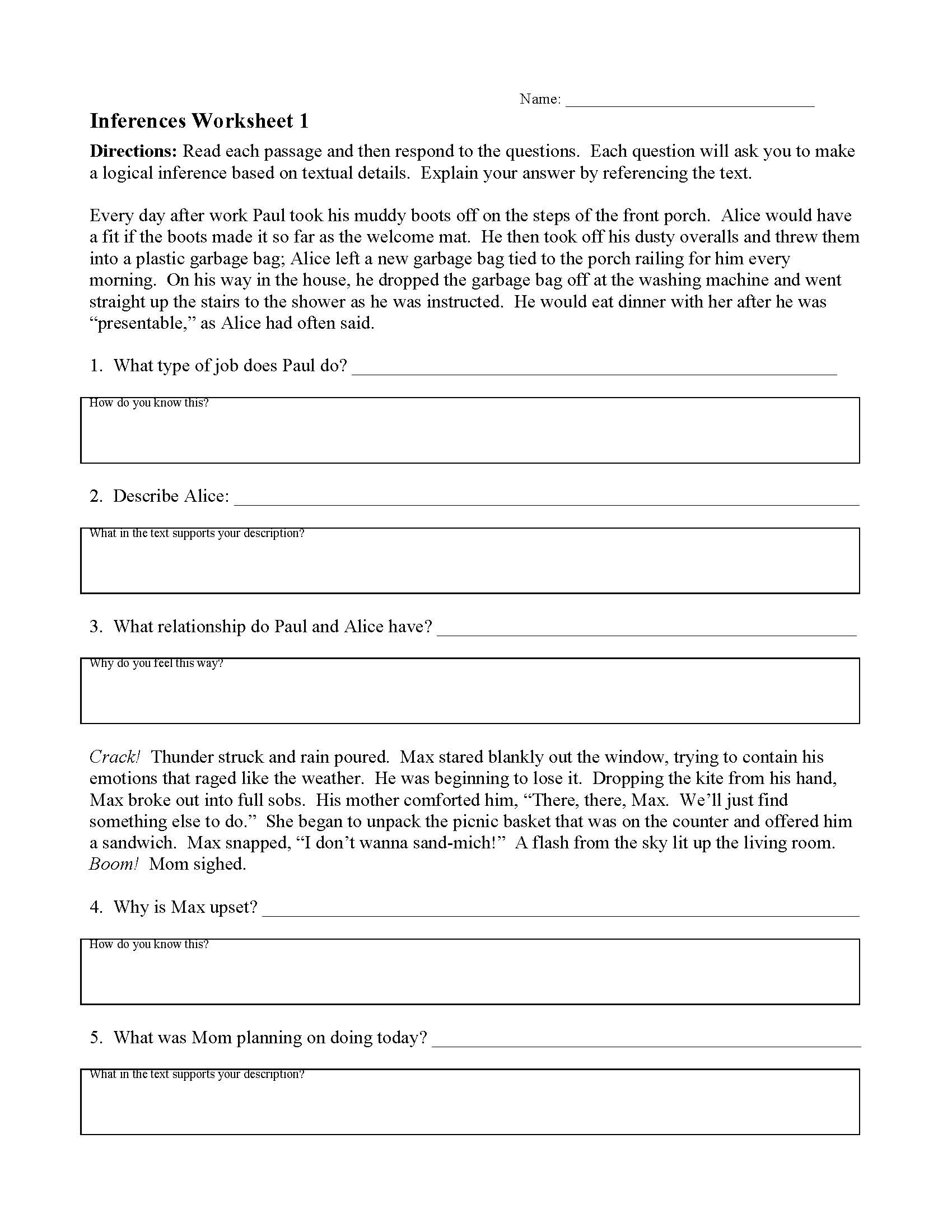 Finding Textual Evidence Worksheets