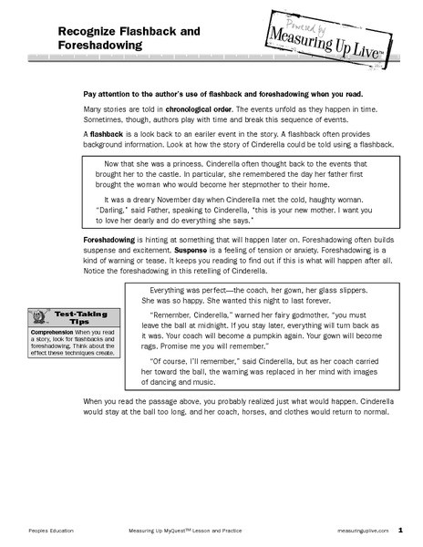 Foreshadowing and Flashback Lesson Plans & Worksheets