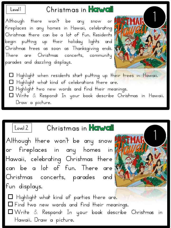 Free Christmas Reading Comprehension Worksheets