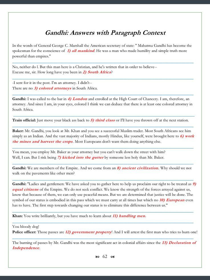 Gandhi Movie Worksheets 123 Cloze Fill in Problems
