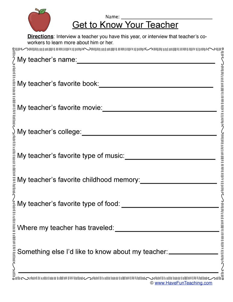 Get to Know Students Worksheet
