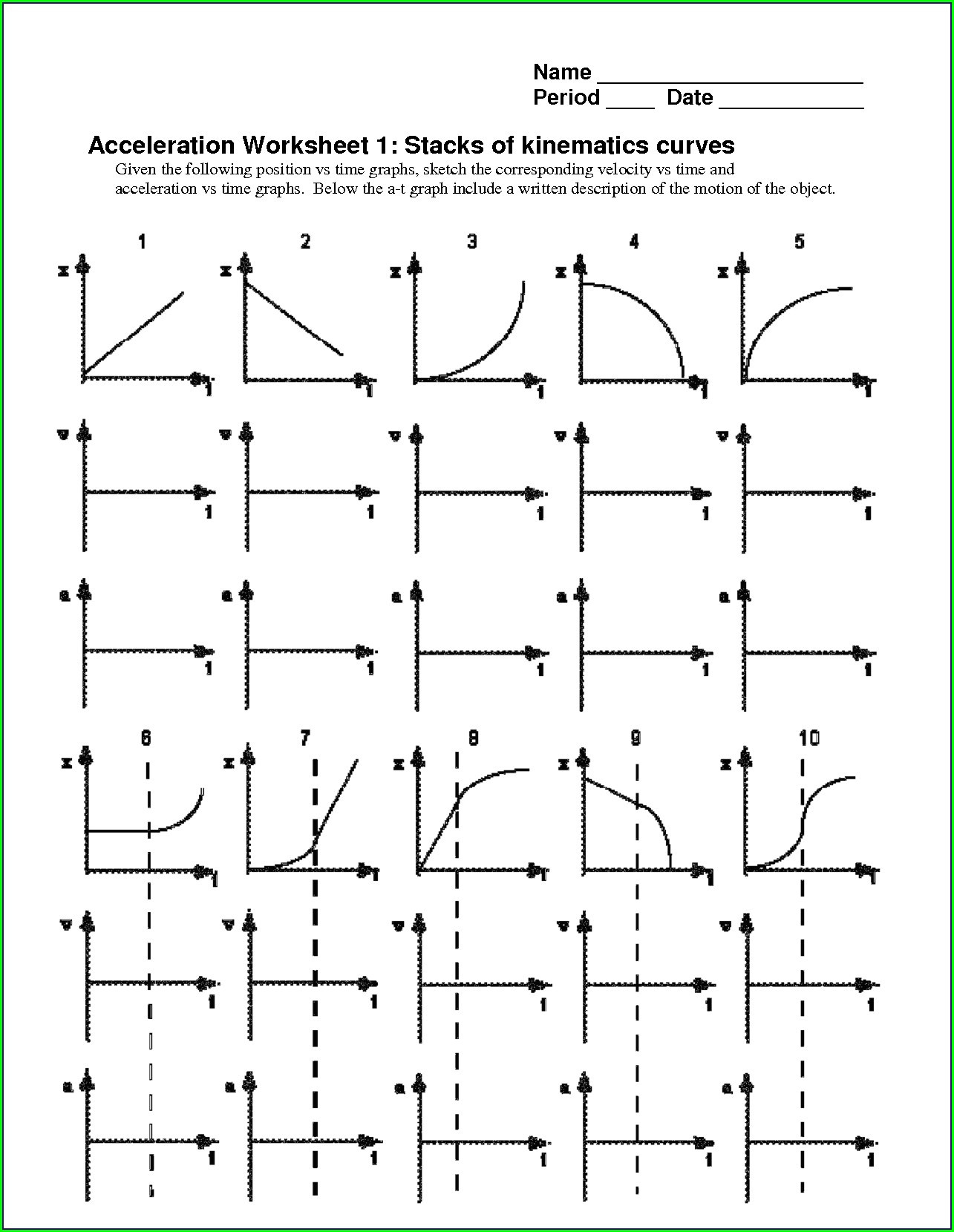 Graphing Velocity Vs Time Worksheet