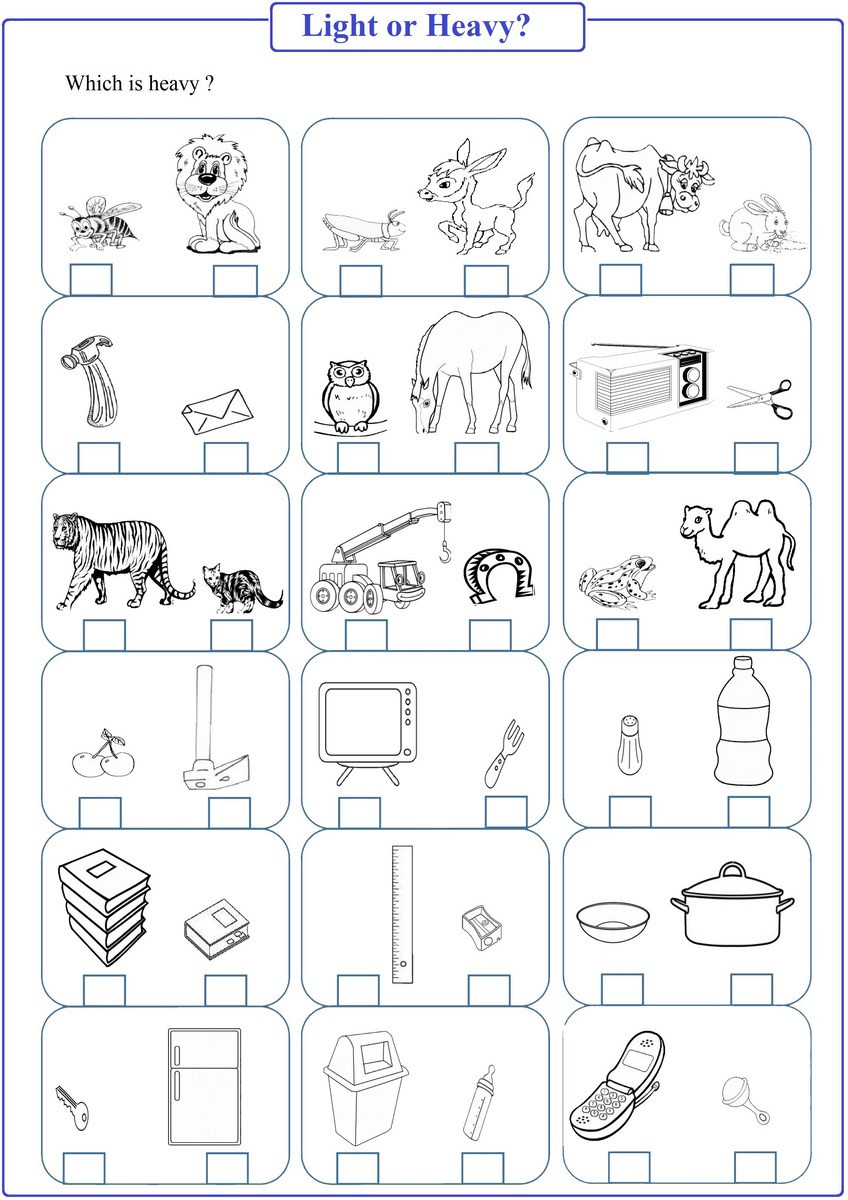Heavy and Light Worksheets