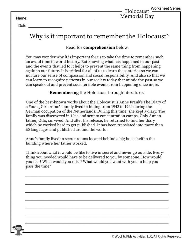 Holocaust Reading Comprehension Worksheet Template Library [ 1024 x 791 Pixel ]