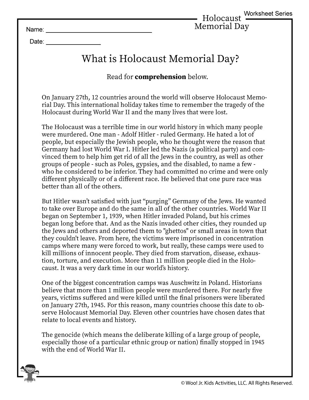 Holocaust Reading Comprehension Worksheet Template Library [ 1294 x 1000 Pixel ]