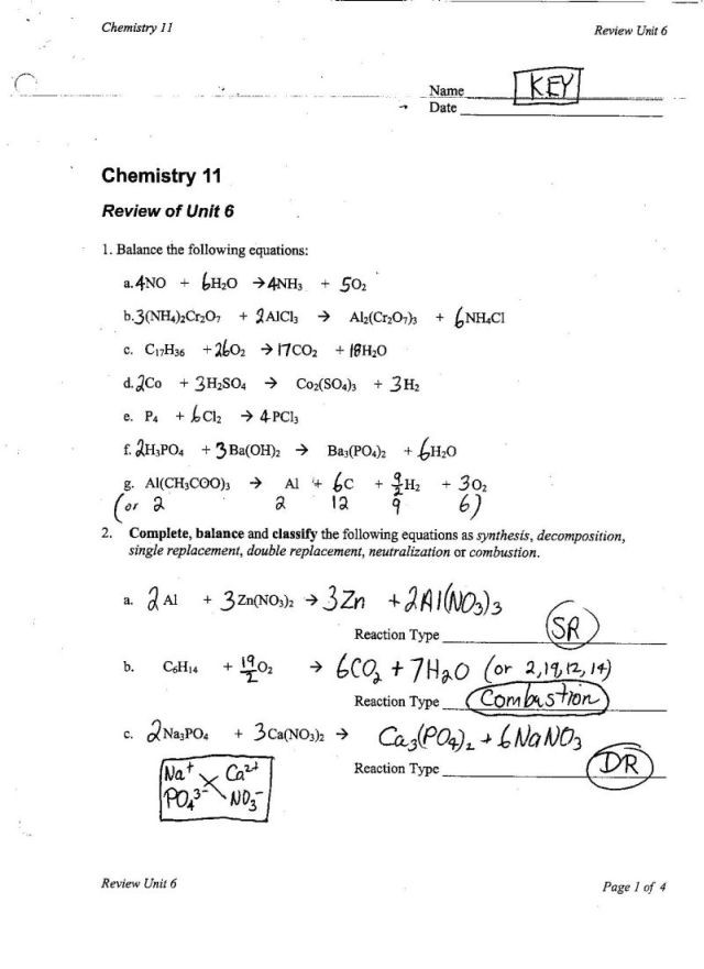 Introduction to Chemical Reactions Worksheet