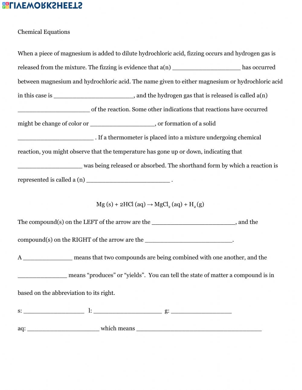 Introduction to Reactions Worksheet Answers