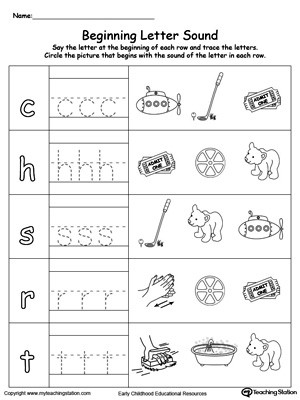 Trace and Match Beginning Letter Sound AT Words
