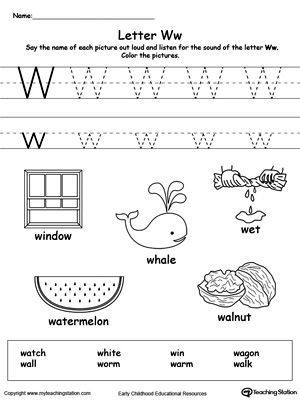 FREE Words Starting With Letter W Worksheet Teach the