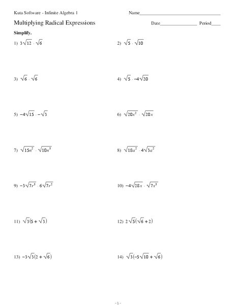 Multiplying Radical Expressions Worksheet for 10th 11th