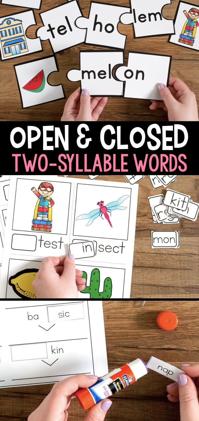 Open and Closed Syllable Worksheets