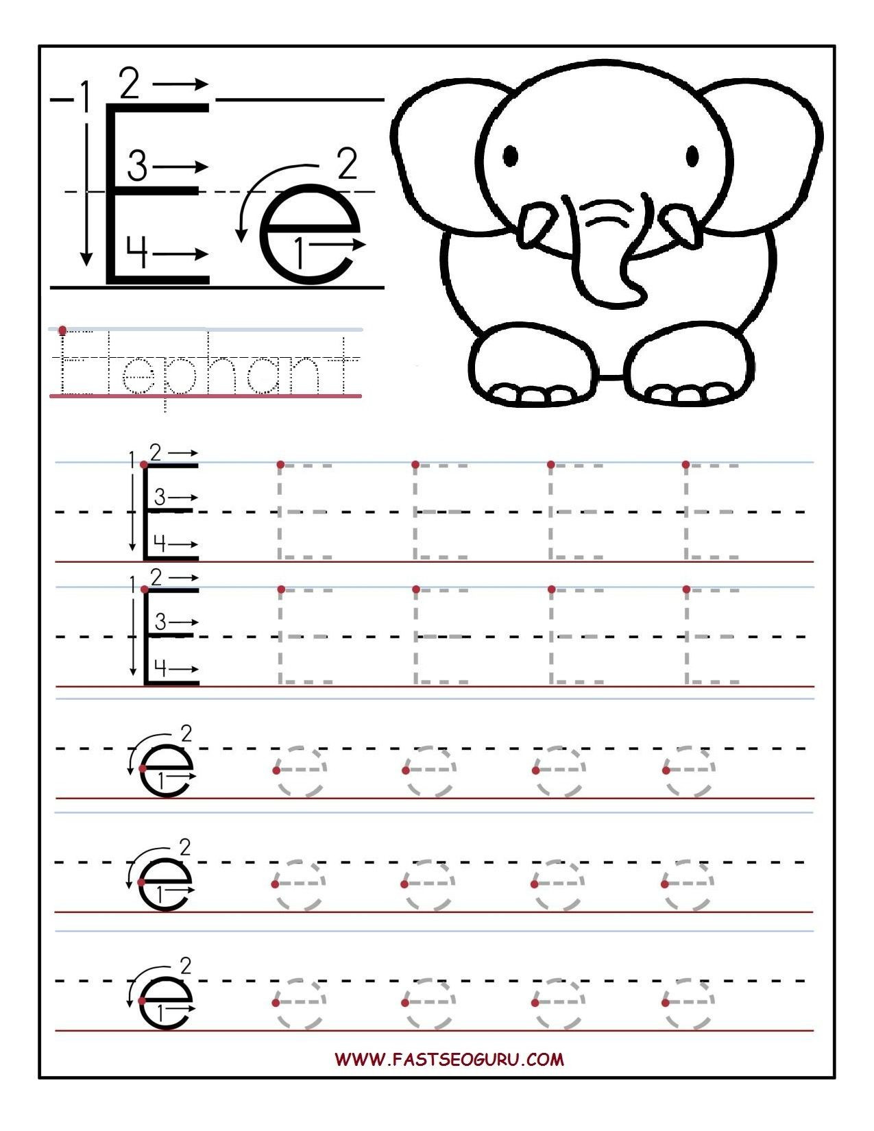 Printable Letter Tracing Worksheets For Preschool Double